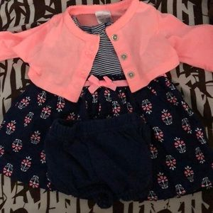 Dress with diaper cover and jacket
